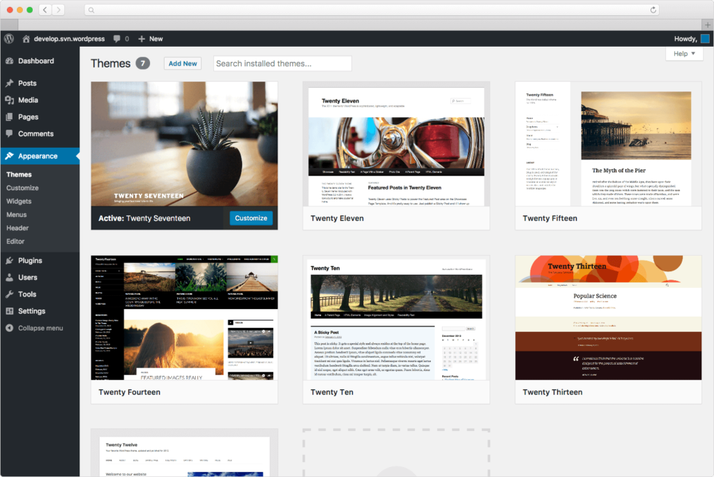 interfaz de administración web