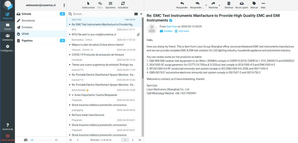 pantalla de interfaz de correo